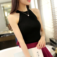 Off Shoulder Tank Top Femme Knitted Cotton Crop Top Women 2016 Winter Tops Halter Cropped Debardeur