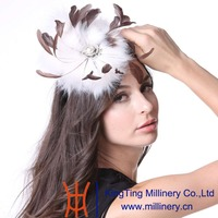 June S Young Women Feather Fascinator Hats Cocktail Party White Faux Fur New Arrivals Elegant Lady
