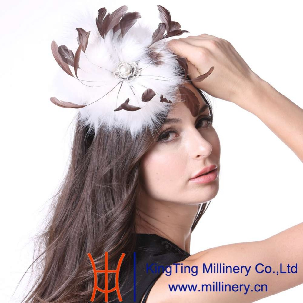 June's Young Women Feather Fascinator Hats Cocktail Party White Faux Fur New Arrivals Elegant Lady Wedding Dress Wear Accessory inc new white black women s large l feather print seamed shift dress $79 013