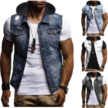 Hooded Outerwear Denim Vest Men Hole design Sleeveless Cotton Jacket Mens Coats Male Vest Blue Black White