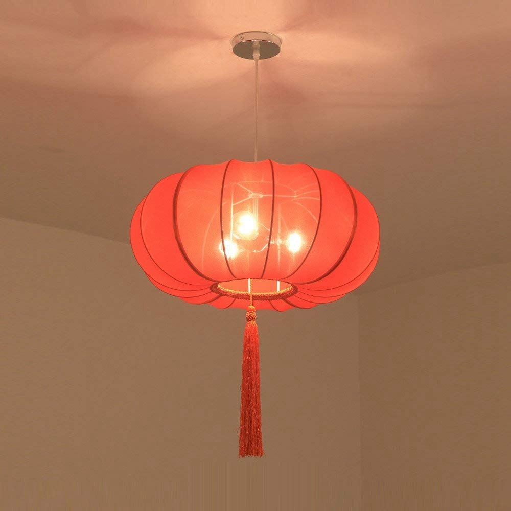 Chinese Hand Solid Red Lanterns Restaurant Pendant Light Balcony Corridor Hanging Lamp Pastoral Hallway Bedroom Pendant Lamps