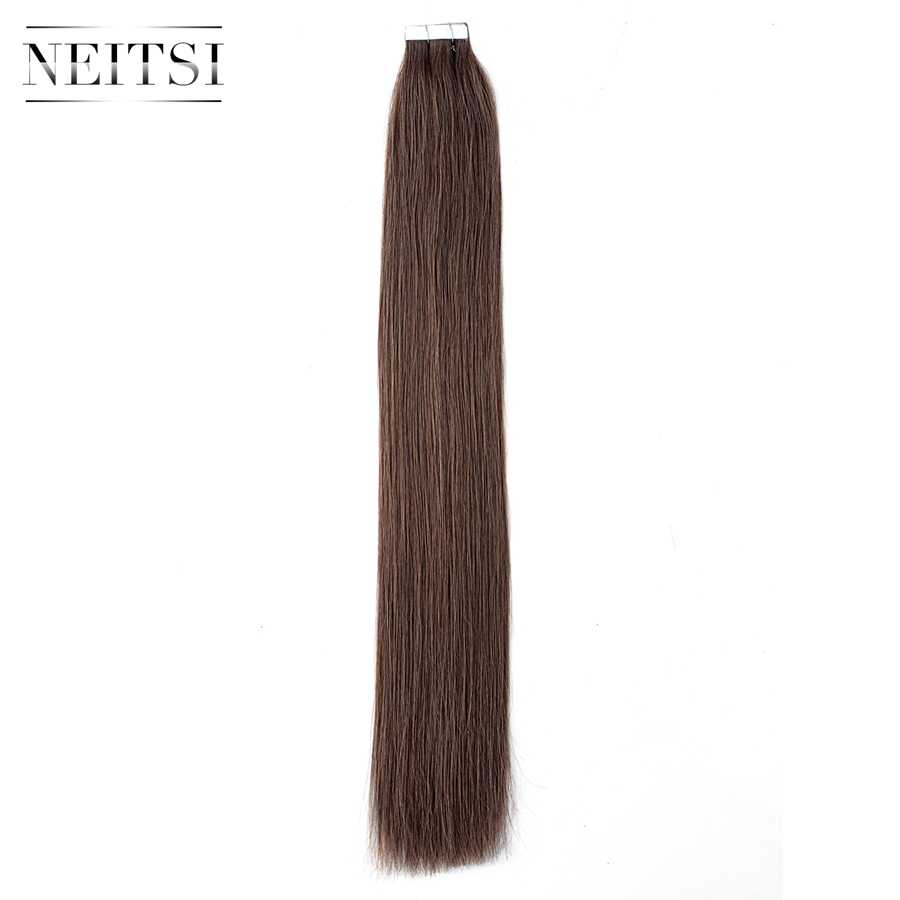 Neitsi Straight Remy Tape In Human Hair Extensions 8# Double Drawn Skin Weft Hair ...