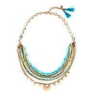 New American Popular Big Brand Design Boho Chic Light Blue Beads Women Collar Multilayer Necklace Gold
