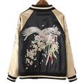 2017 Autumn Women And Men Black Gold Patchwork Bomber Jackets Crane Embroidery Standard Pilot Baseball Jacket 2 Sides Wear