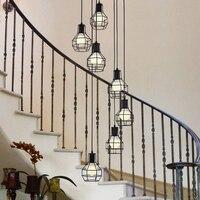Лестницы кулон промышленного ветер американский кантри железа лампы китайский ресторан вращающийся бар лестницы подвесные светильники лю