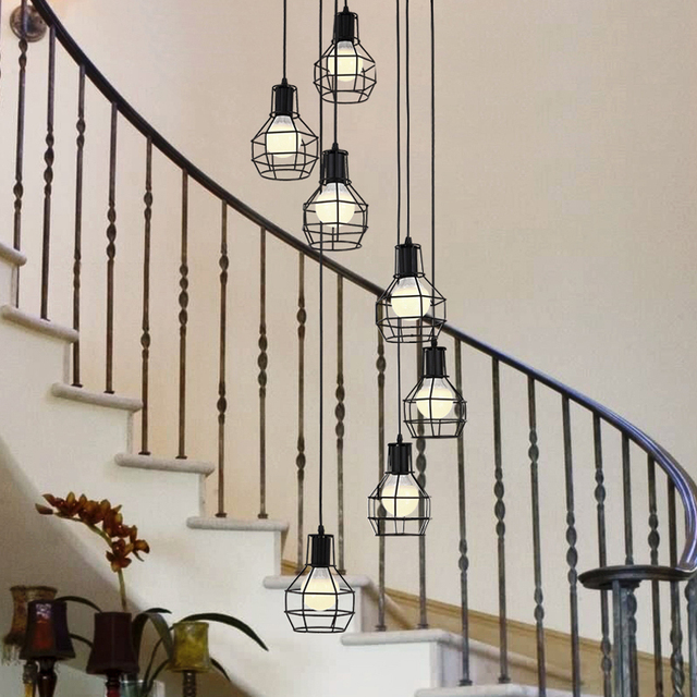 Stairs Pendant LightsVintage Industrial Wind American Country Iron Lamps  Chinese Restaurant Revolving Bar Stair Pendant Lights