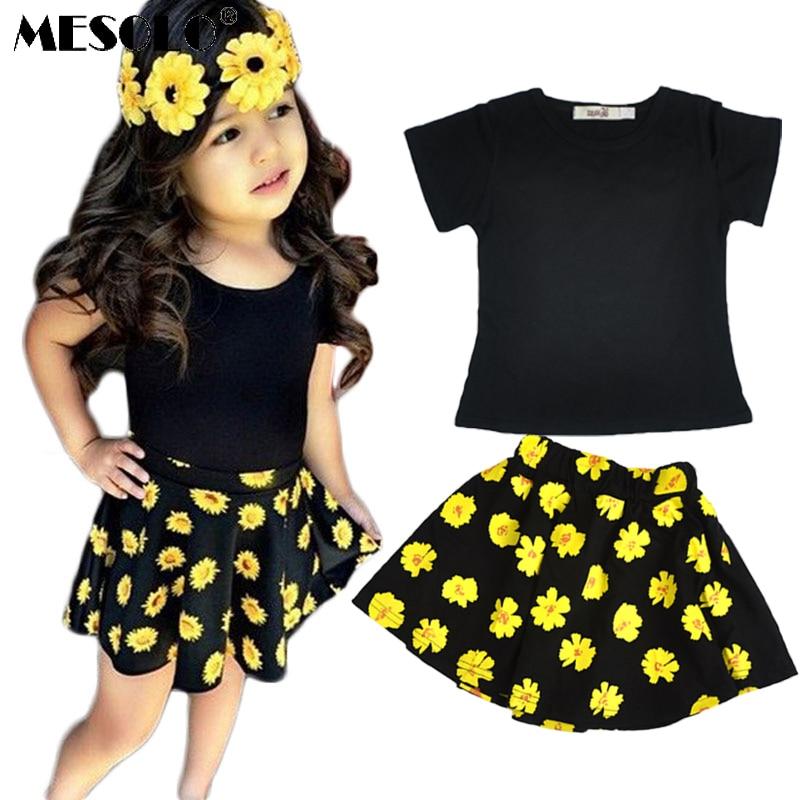 MESOLO 2019 Summer girls set  letter flower girls clothing child Short sleeve T-shirt + skirt 2pcs set  kids clothes