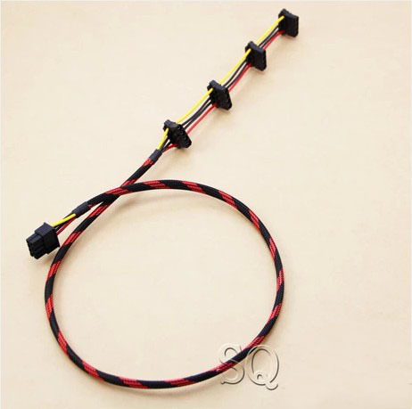 PC DIY Tt TR2 RX 850W ATX MOD 8Pin to 4 4Pin IDE Molex Power Supply Cable Cord 18AWG Wire Nylon Net Total 80cm