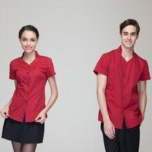 Restaurant Hotel Uniform Women Female Waitress Blouse Men Male Waiter Shirt Short Sleeve Burgundy Jean Blue Single Button