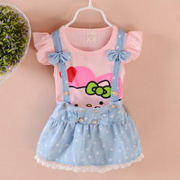 Summer Baby Girls Clothes 2pcs Set Belt Pants Short Sleeve Tshirt Princess Newborn Baby Girls Clothes
