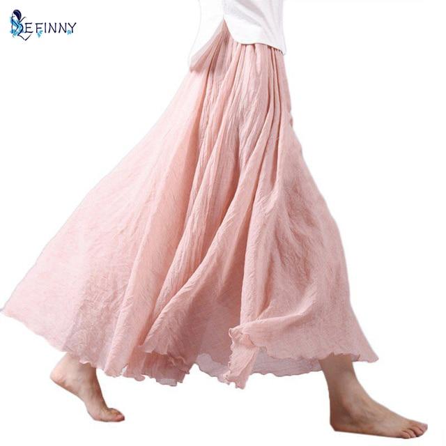 Women Summer Long Skirts Linen Cotton Elastic Waist Pleated Maxi Skirts Beach Boho Vintage Skirts