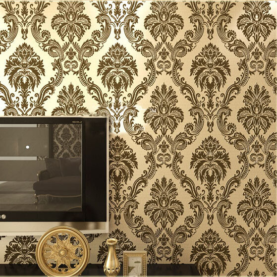 European Damask Wallpaper Pvc Flocking Fl Wall Paper Living Room Bedroom Home Decor Beige