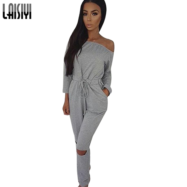 Laisiyi 2017 Women Casual Jumpsuit Slack Neck Off Shoulder Clothing Solid Hold Sashes Bodycon Plus Size ASJU100040