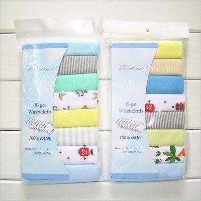 8Pcs Newborn Baby Towel made of 100% Cotton