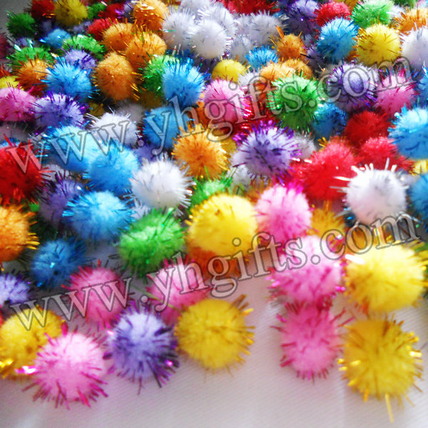 1000PCS LOT Glitter pompom Chenile pom pom DIY accessories Shine ball Doll accessories Craft material 1