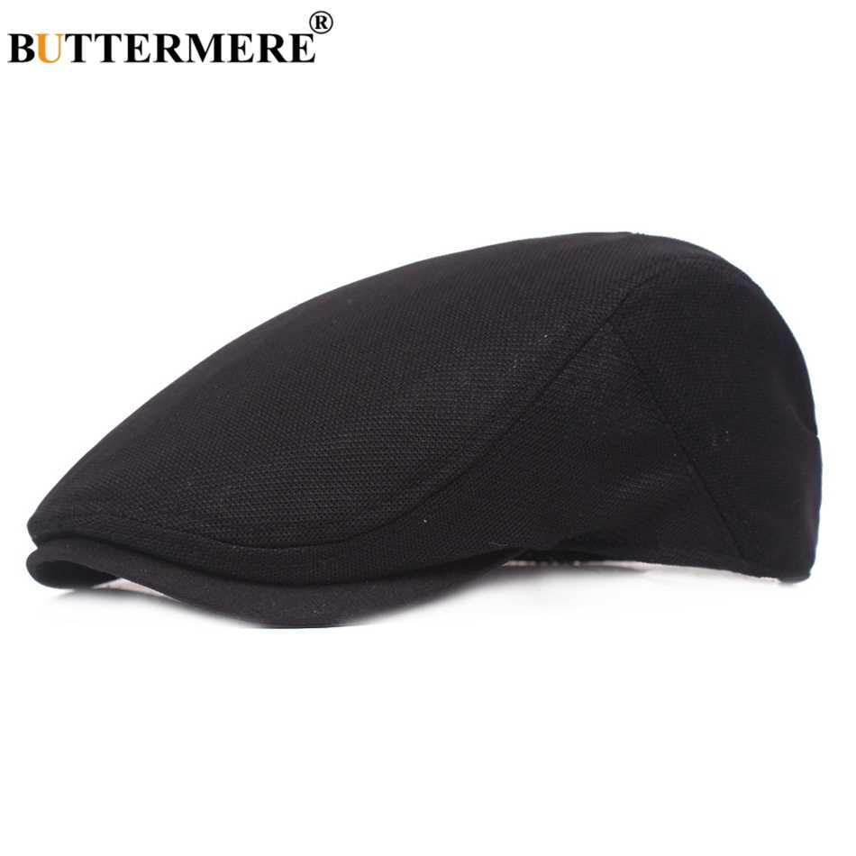Buttermere Kapas Topi Baret Pria Putih Kasual Mesh Topi Datar Pria Solid Bernapas Adjustable Klasik Musim Panas Duckbill Topi Fahion