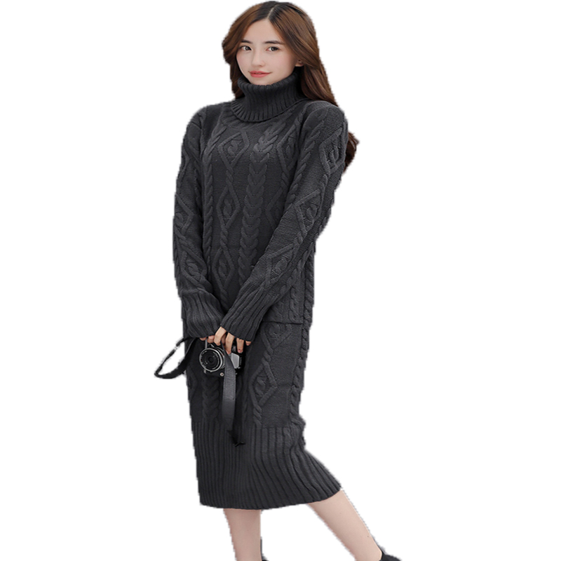 Women Causal Dress Female Autumn Winter Long Sleeve Loose Turtleneck Pullover Knitted Long Dress Ladies Solid Basic Robe Vestido multic femme skullies autumn beanies winter warm chapeau women hat female knitted cap ladies bonnet