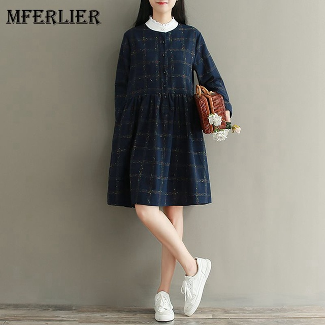 cd84b9bcb6b Mferlier Mori Girl Autumn Dress Pannelled Lace Patchwork Stand Collar Long  Sleeve Waist Pleated Literature A Line Dress