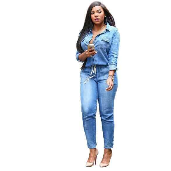 Гофрированный джинсовый комбинезон широкие брюки женские облегающее пикантное Бандажное платье с открытыми плечами без спинки винтажные джинсы комбинезон WF408