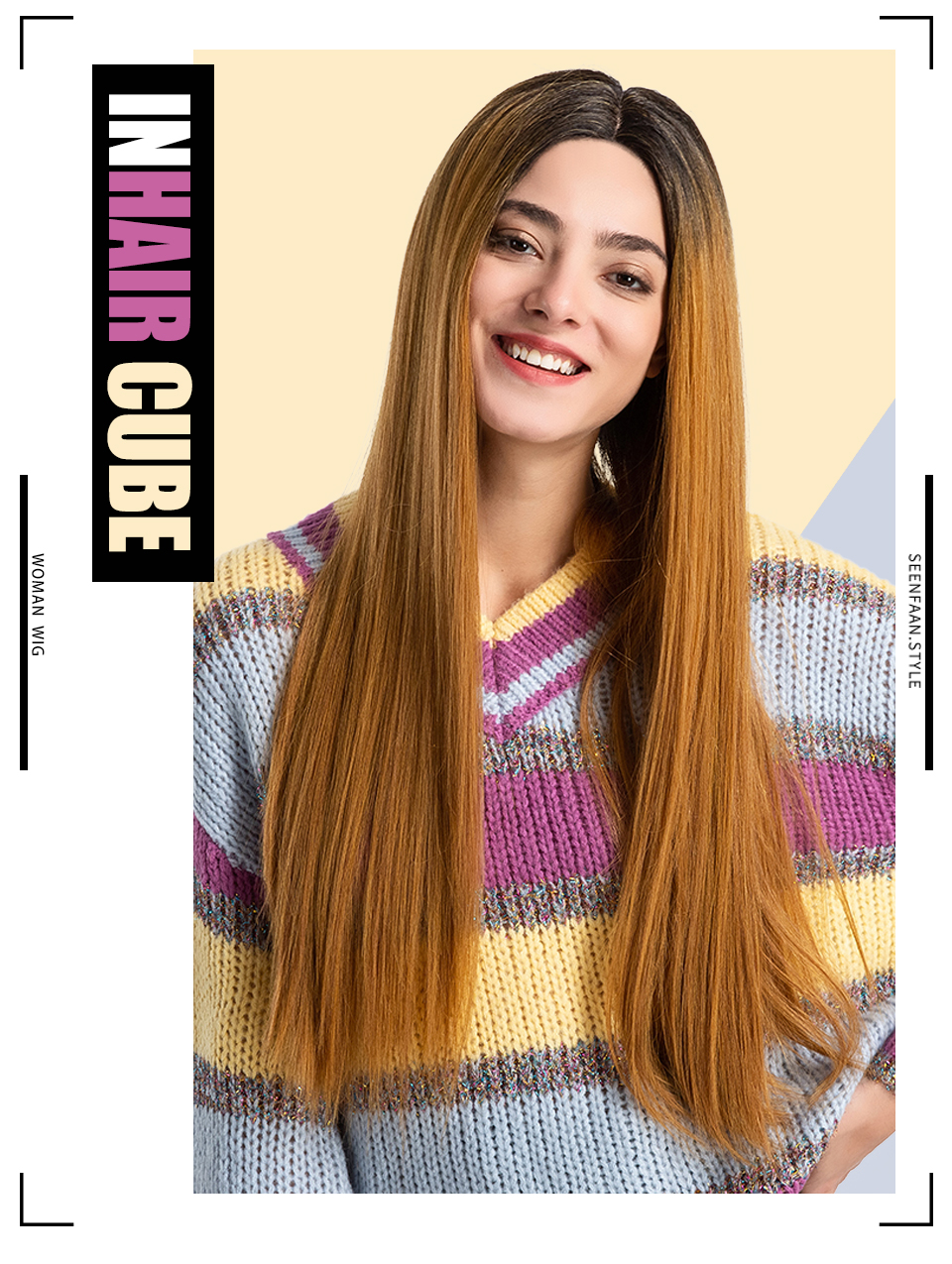 Synthetic None-lacewigs Inhair Cube Middle Part 22 Inches Ombre Long Wavy Heat Resistant Synthetic Kinky Simulation Scalp Cosplay For Women