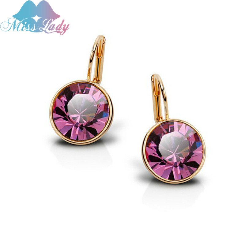 Miss Lady Gold color Crystal korean Fashion Jewelry Ronda minimalista pequeño kpop gota pendientes para mujeres MLY5126