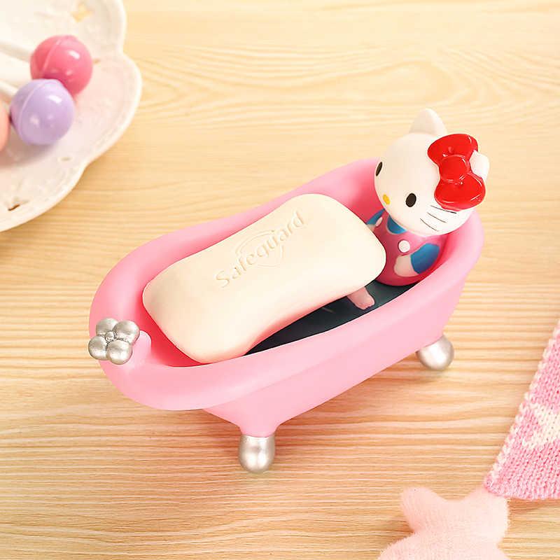 Kawaii كيتي القط الشخصيات الكرتونية حمام تصميم الصابون صندوق الصابون حامل صابون الأطباق اكسسوارات الحمام. الإبداعية المنزلية