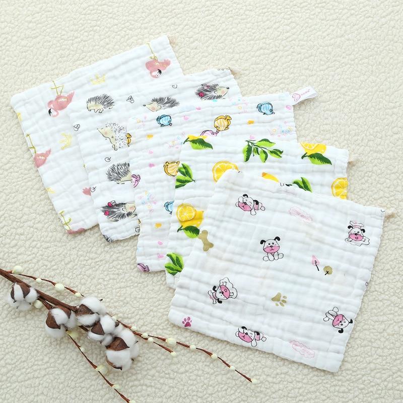 Six-layer Gauze Saliva Towel Cotton Square Towel Cartoon Printing Newborn Baby Wash Face Towel For Kids Children (6)