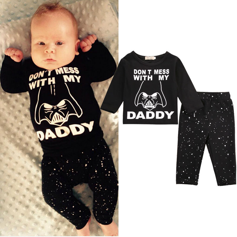 Newborn Baby Boy Girl Clothes Star Wars Long Sleeve Cotton Tops T-shirt+Long Pants  2pcs Outfit Set Bebek Giyim infant baby boy girl 2pcs clothes set kids short sleeve you serious clark letters romper tops car print pants 2pcs outfit set