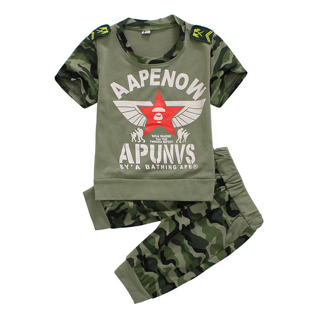 cde683462 Retail 2015 New Boys Camouflage short sleeve t shirt + pants set Children's  fashion army green wear kids summer clothing sets