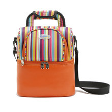 New Promotion Double Stripes Portable Picnic Lunch Thermal Bag Oxford Shawl Storage Cooler Bag Refrigerator for Breast Milk