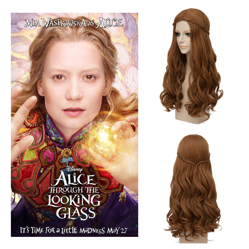 Alice In Wonderland 2 Alice Brown Wigs Synthetic Hair Long Curly Wavy The White Queen Co ...