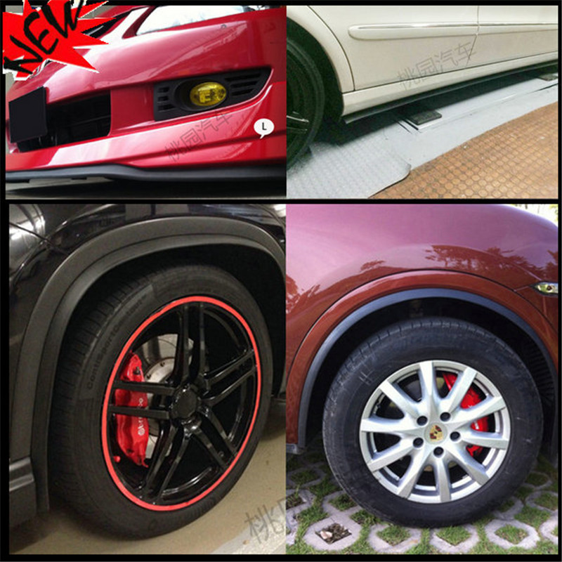 2.5m*6.5cm Car Styling Auto Front Rear Lip Side Skirts Protection Strip Sticker Car Wheel Trims Eyebrow Stickers for Car Car DIY car styling wheel eyebrow decorative wheel arch eyebrow stripe for ford kuga escape 2017 2018 car wheel modling trims