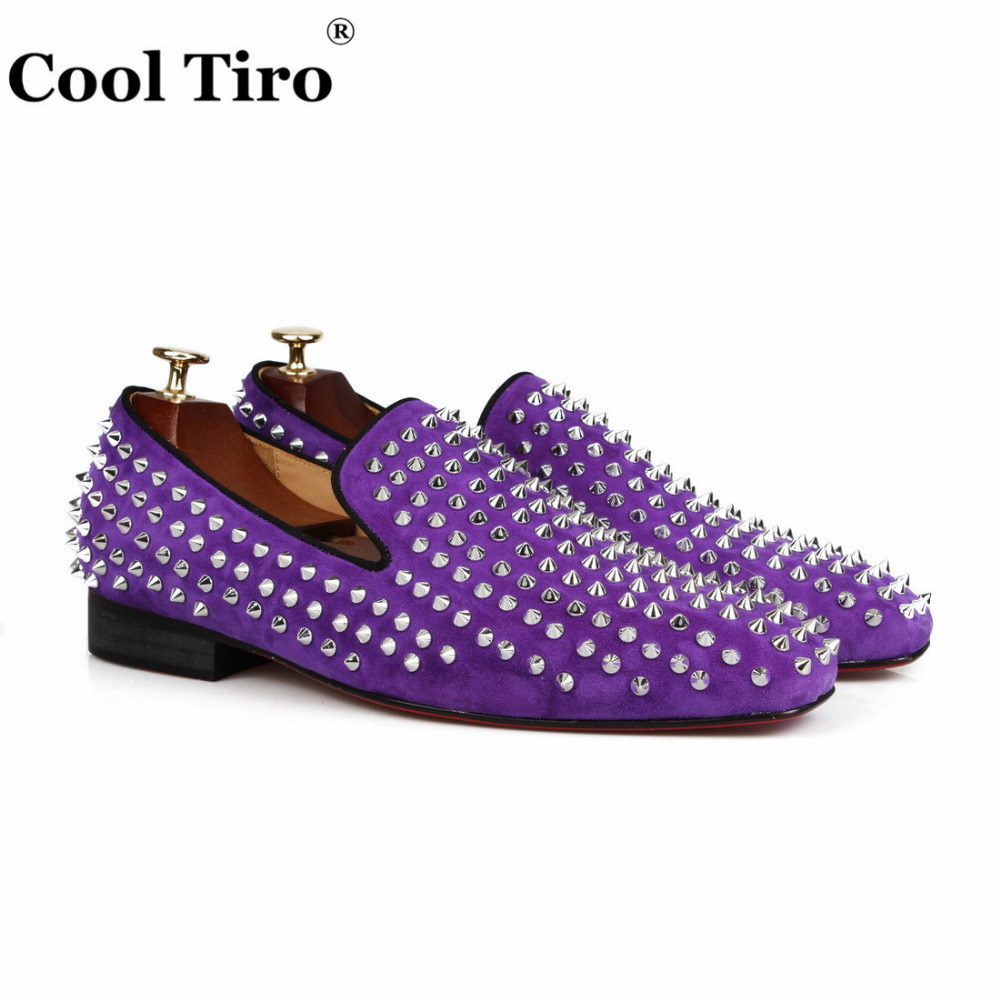 COOL TIRO  2018 new Purple suede leather men handmade shoes with spikes Fashion Party men loafers men