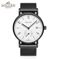 Brand quartz movement Men's watch Simple Bauhaus Style 8mm Thin Sapphire Crystal Mesh belt classic Wrist watch Reloj Hombre