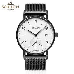 Marka mechanizm kwarcowy zegarek męski prosty styl Bauhaus 8mm cienki szafirowy pasek z siatki klasyczny zegarek na rękę Reloj Hombre