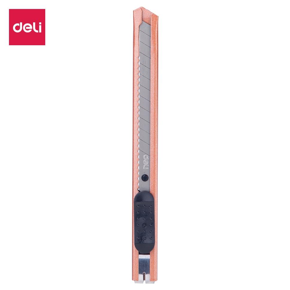 DELI E2066 Cutter 1PC Wood Box Paper Cutter SK5 Blade Metal Stationery Utility Craft Knife Cutter Cutting Knife