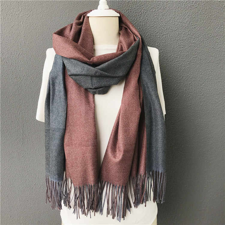 新しい冬男性スカーフ冬暖かい固体両面ソフトカシミヤスカーフショールとラップバンダナ女性スカーフタッセル