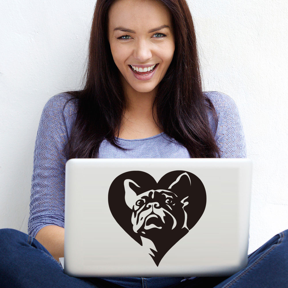 Lovely French Bulldog Laptop Stickers Wall Decorative Vinyl Heart Shaped Hollow Out Animal Decals Car Styling Sticker