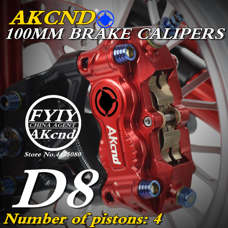 Motorcycle AKCND D8 brake caliper hydraulic disc brake 100mm CNC aluminum workmanship for Kawasaki yamaha bws125 XSR 900 MT 09