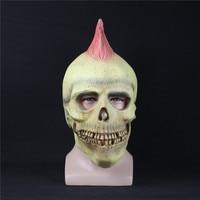 Crânio assustador Máscara Cosplay Cabeça Realista Máscaras De Látex Rosto Cheio Capacete Adulto Traje Fantasia de Halloween Adereços Partido Do Disfarce
