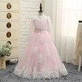 2016 настоящее новый розовые свадебные платья белого кружева с длинными рукавами платье принцессы бальное платье длиной до пола , девушки первое причастие