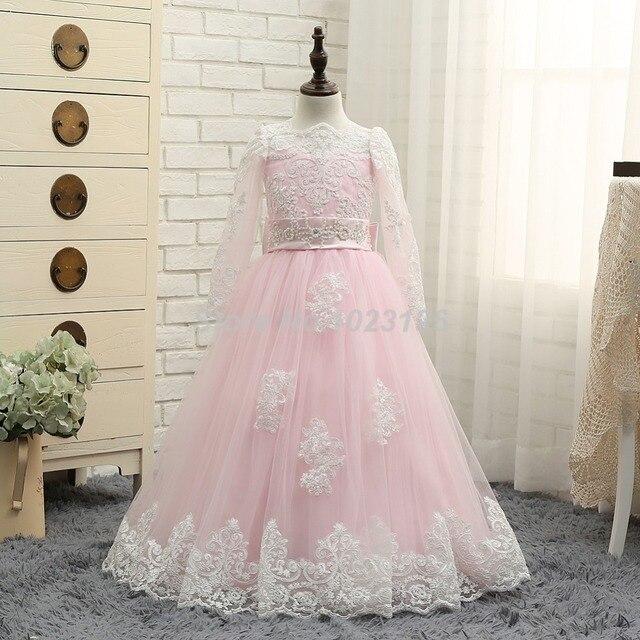 36601994fc3d4 2016 Real New Pink Flower Girl Dresses White Lace Long Sleeves Princess  Dress Ball Gown Floor Length Girls First Communion Dress-in Flower Girl ...