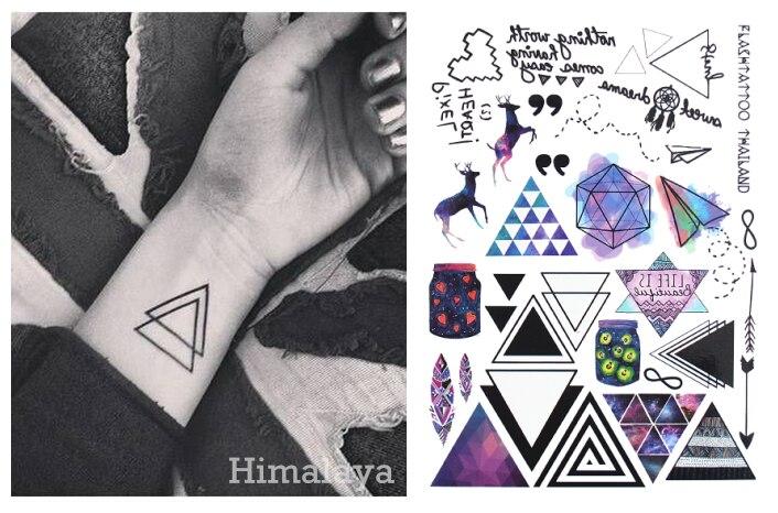 #391 геометрический Временные татуировки Треугольники татуировки современный Стиль унисекс Средства ухода за кожей татуировки.