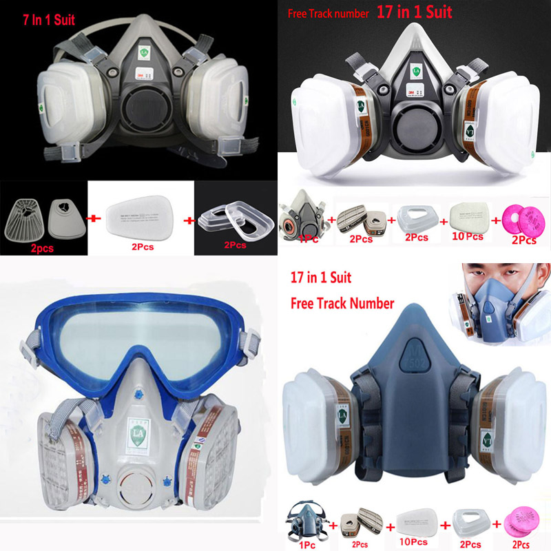 Industry Painting Spray Respirator Dust Gas Mask Same For 3 M 6200 501 5N11 6001 7502 Half face Respirator mask 3m 7502 respirator mask 17 in 1 suit industry painting spray dust gas mask with 3m 501 5n11 6001cn chemcial half face mask