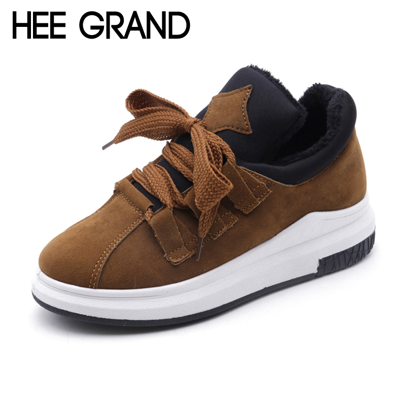 HEE GRAND 2018 Fashion Flat Shoes Woman Comfortable Casual Lace-Up Flats Fur Solid Women Shoes 3 Colors Size 35-39 XWD6235 hee grand sweet faux fur slippers fashion flats shoes woman slip on bowtie winter warm women shoes 4 colors size 36 41 xwt966