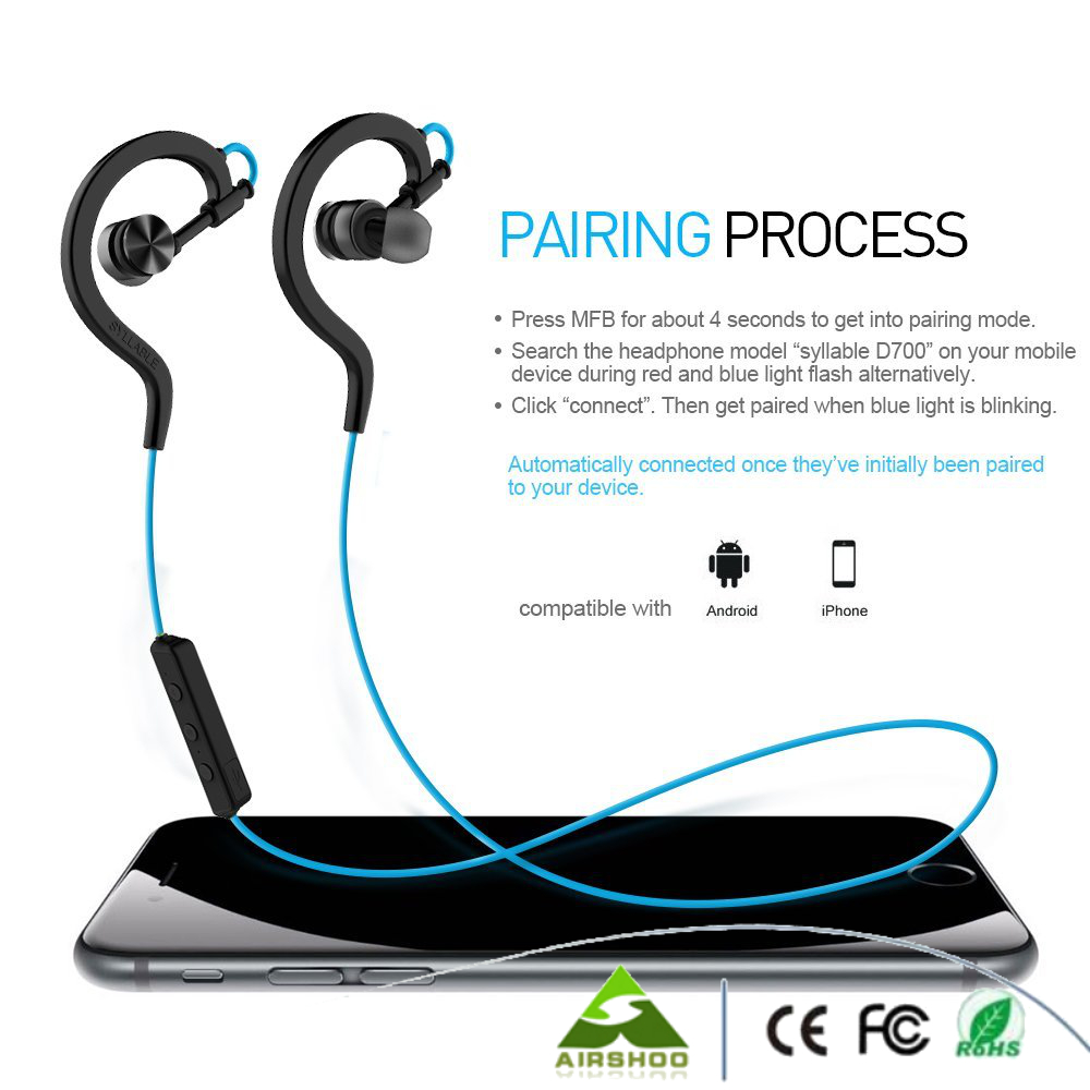 NEW Coming!!2PCS/Lot Syllable D700 Bluetooth 4.1 sports earphone headset Black/Blue/White/Yellow available FREE shipping