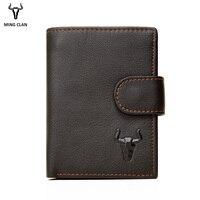 Mingclan Short Men Wallets Genuine Leather Wallet Men Clutch Bag Coin Purse Card Holder Zipper Hasp Male Wallet Rfid Pocket