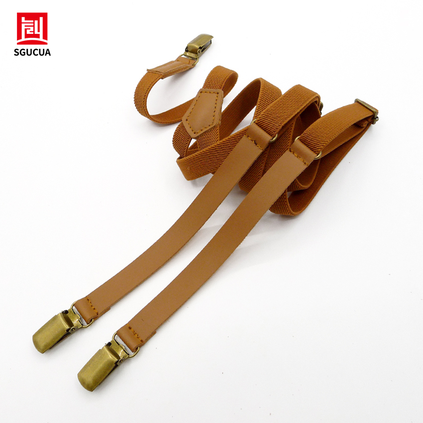New personalit suspenders Leather and elastic links Vintage clip braces men 2 color options for black and brown suspenders women ...