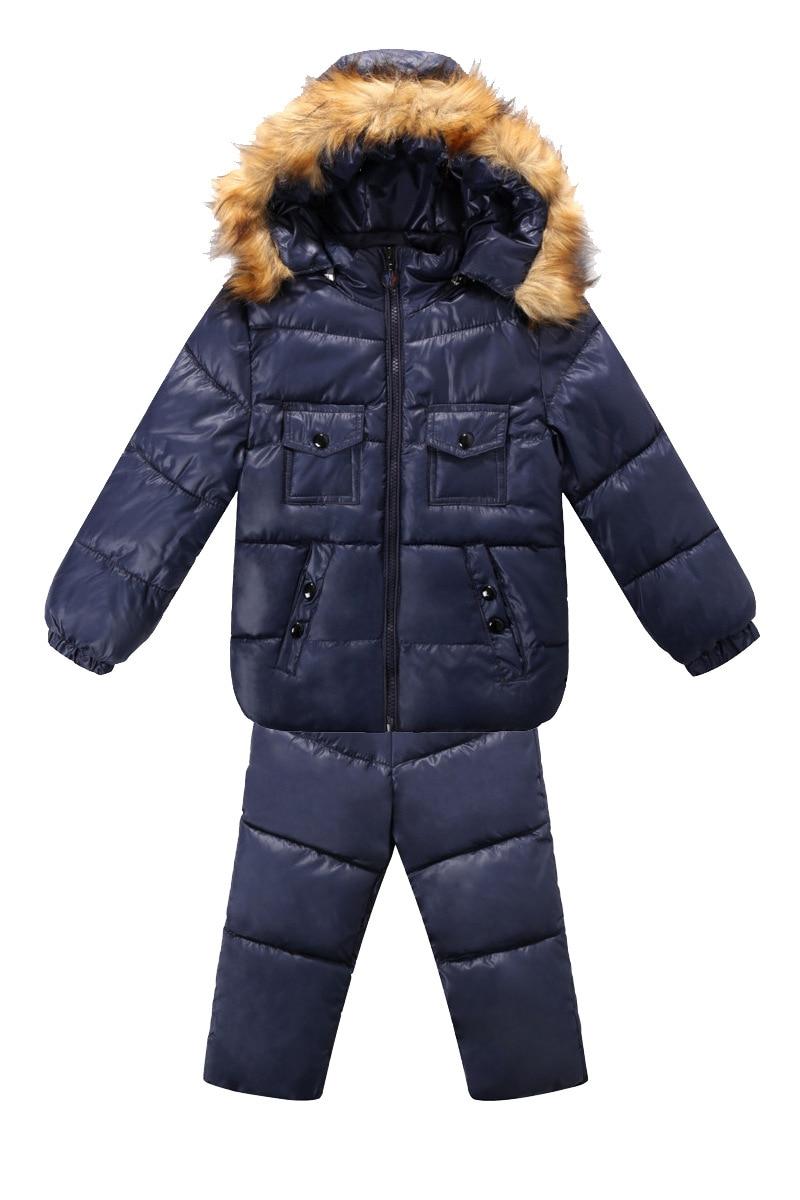 3fac694a5 Winter Toddler Boys Girls Fur Collar Down Jacket Suit Set 1 4T Warm ...