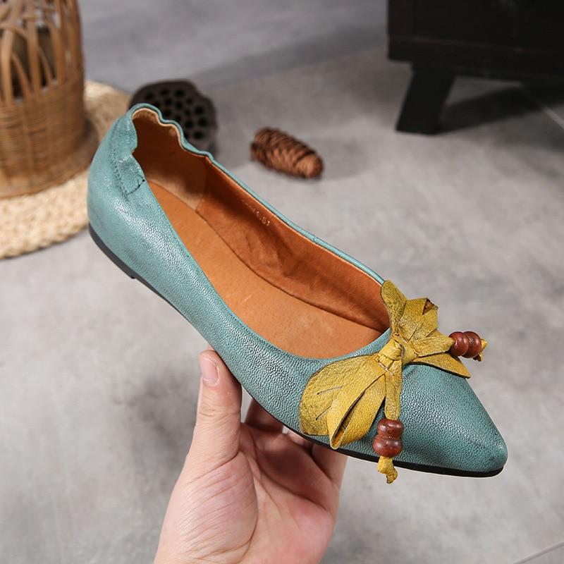 Chaussures Printemps Main La Nation Fond Profonde Pointu 2019 Décontracté D'été Cuir Femmes En Blue Mocassins Plates À Pour Et Mou Plats Peu Véritable tR1HwqHdx